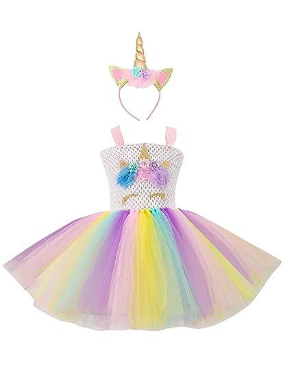 bbfc2d542b3 Eleasica sans Manches Robe de Déguisements Licorne Princesse Tutu Haute  Qualité Cosplay Cobfortable Bleu Rose Anniversaire