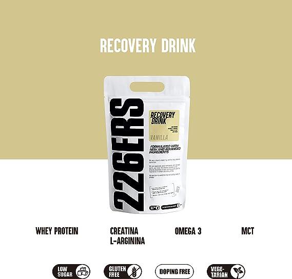 226ERS Recovery Drink Monodosis, Recuperador Muscular con Proteína Whey, Creatina, Hidratos de Carbono, Triglicéridos y L-Arginina, Vainilla - 1 x 50 ...