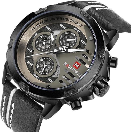 Orologi militari Naviforce da uomo orologio da polso al quarzo in pelle impermeabile alla moda 9110
