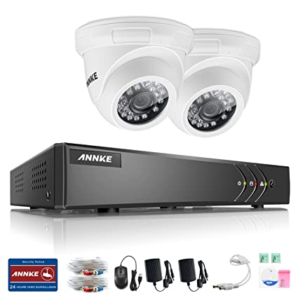 ANNKE Sistema de Seguridad 4CH 1080P Lite TVI DVR con 2 Cámara de Vigilancia IP66 Impermeable