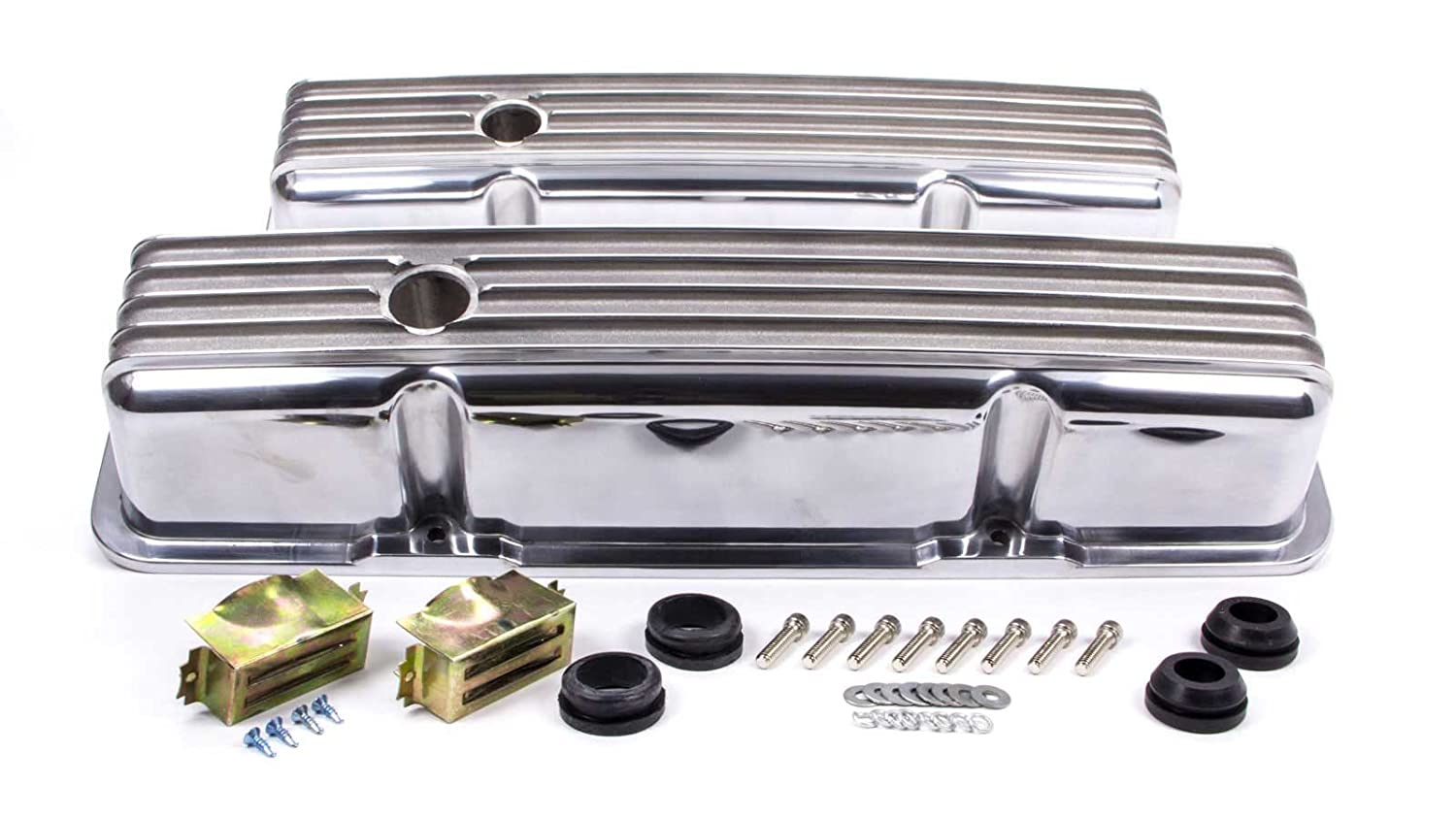 Racing Power Company R6181 Tall Finned Polished Aluminum Valve Cover for Small Block Chevy