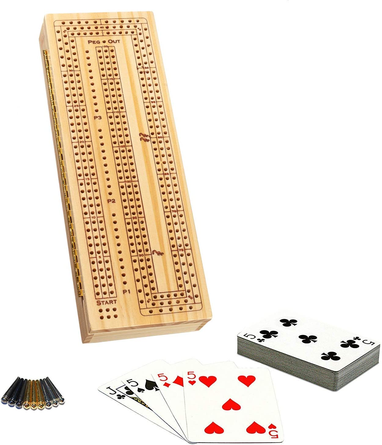 Indoor Fun Family Games Cribbage Board Game Complete Set Includes Pegs