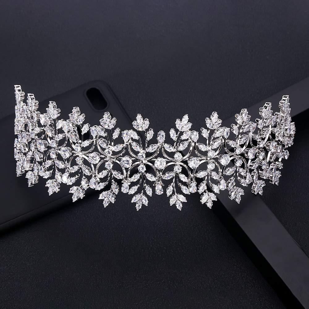 Jankelly Ladies Wedding Headpieces With Cube Zircon Wholesale Accessories Headdress Bridal Hair Tiaras WHITE