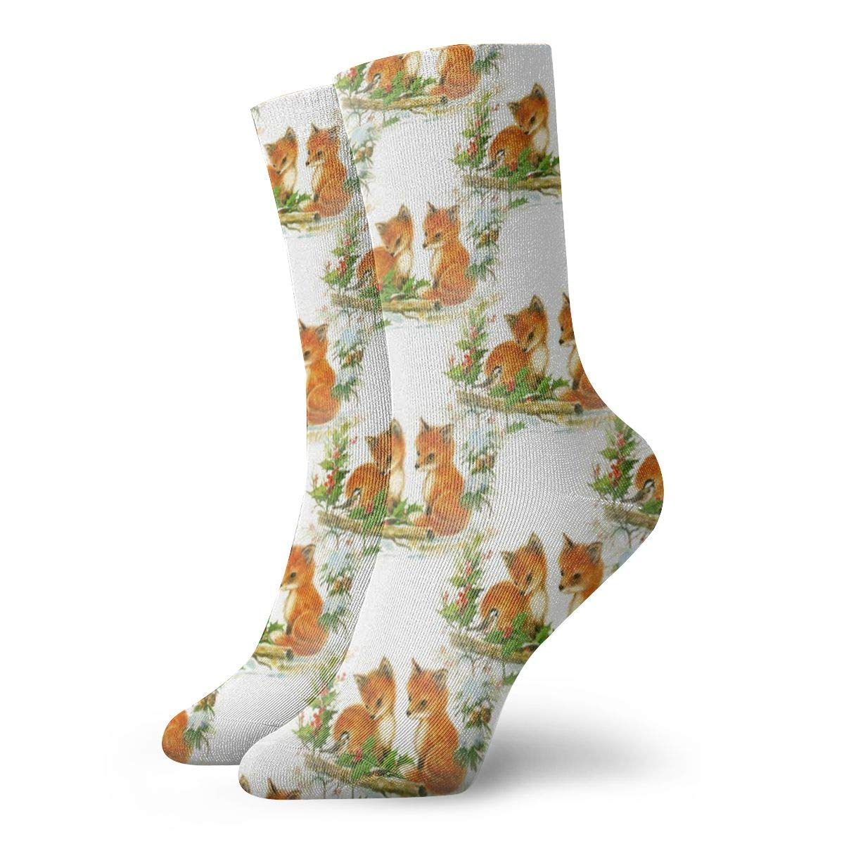 Fox Babies Vintage Christmas Men Women Novelty Funny Crazy Crew Sock Printed Sport Athletic Socks 30cm Long Personalized Gift Socks