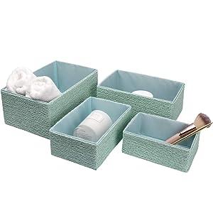 LA Jolie Muse Storage Baskets Set 4 - Stackable Woven Basket Paper Rope Bin, Storage Boxes for Makeup Closet Bathroom Bedroom (Light Green)