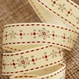 Christmas Ribbon Reel - Snowflakes - Cream, Grey and Red by East of India