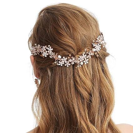 Sweetv oro rosa fascia nuziale vite fiore Halo – fatto a mano accessori per  capelli per 92cf59024a00
