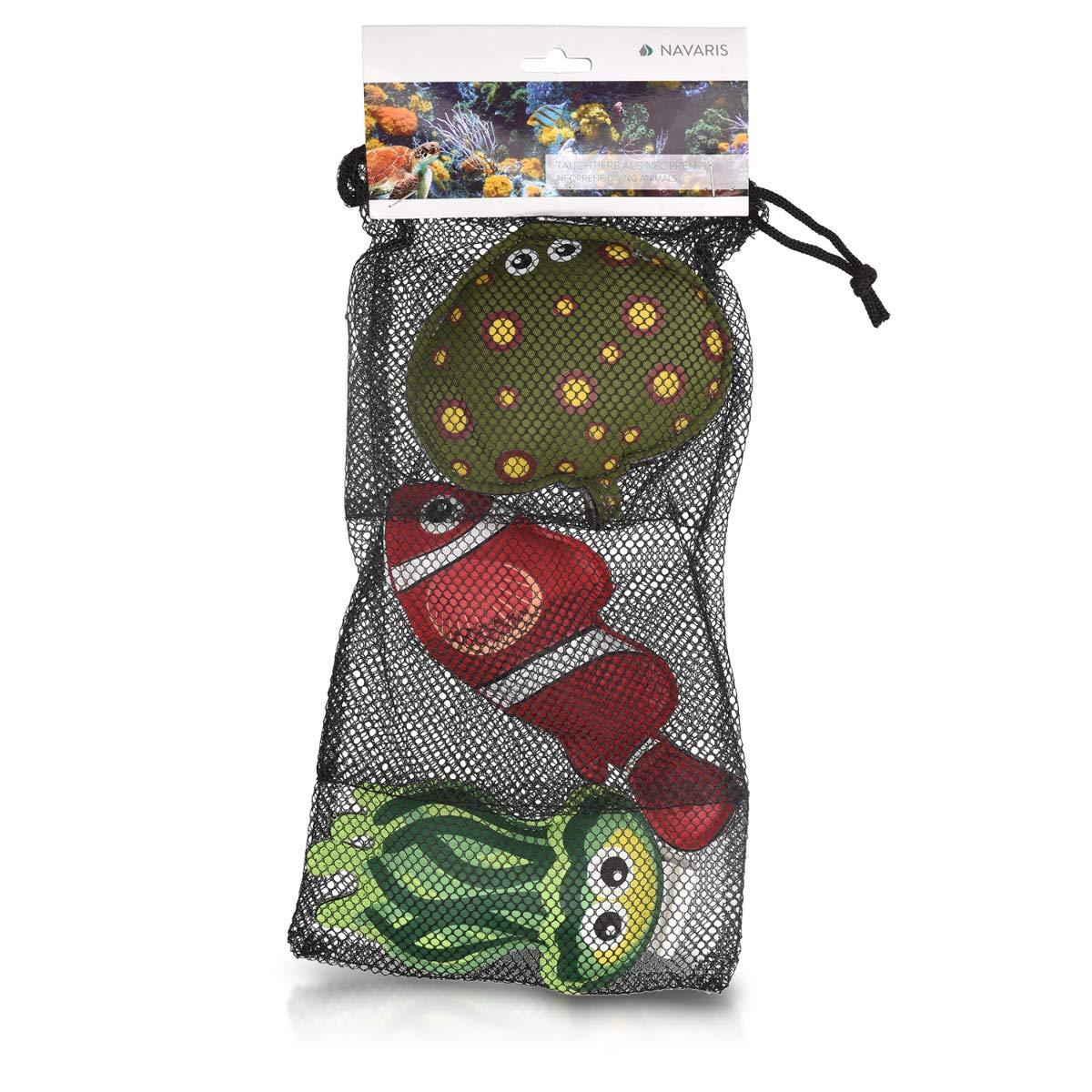 Navaris Set 3 Juguetes sumergibles - Juegos de Agua para niños de Neopreno y Relleno de Arena - Juego acuático para Verano con Bolsa de almacenaje