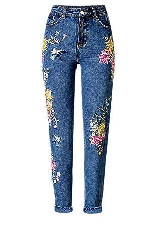 Jeans Desigual Taille Femme Pantalons Brodé Yacun La Fleur Haute Spax5v