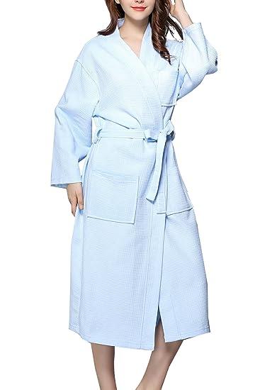 385cb439b1 Women s Plus Size Long-Sleeve Waffle Weave Spa Bathrobe Kimono Robe  Comfortable Bridesmaid Bathrobe Breathable