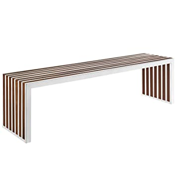 . Modway Gridiron Contemporary Modern Large Stainless Steel Bench With Wood  Inlay  60