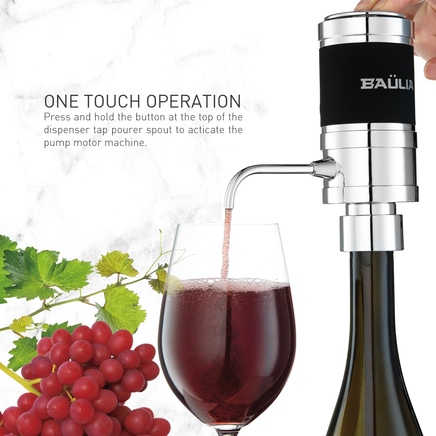 Baulia WA819 Electric Aerator – One Touch Operation Instantly Allow Wine to Breath, Pump Dispenser with Vacuum Sealer, Silver by Baulia (Image #1)