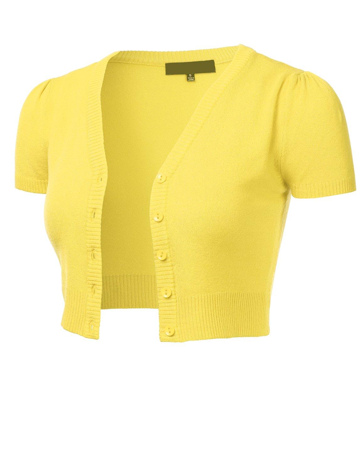 FLORIA Womens Button Down Short Sleeve Cropped Bolero Cardigan Sweater  (S-4X) d615c3a80