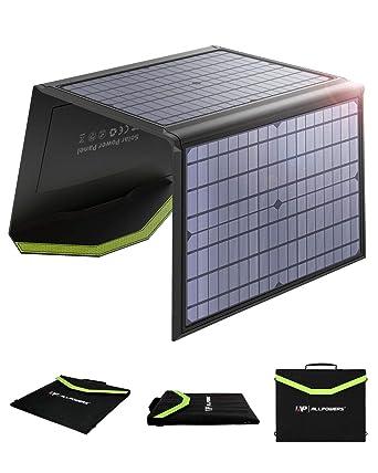 ALLPOWERS 60W Monocristalino Cargador Panel Solar Batería Placa Plegable con 5V USB 18V DC y 9 Paneles Solares para iPhone los teléfonos móviles de ...