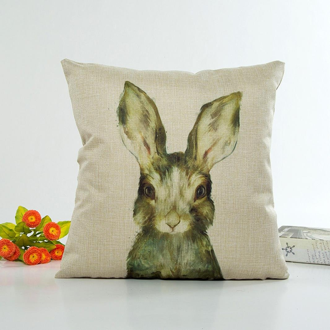 Highpot® Square Pillow Case Linen Animal Watercolor Painting Style Bedroom Sofa Chair Car Home Decor