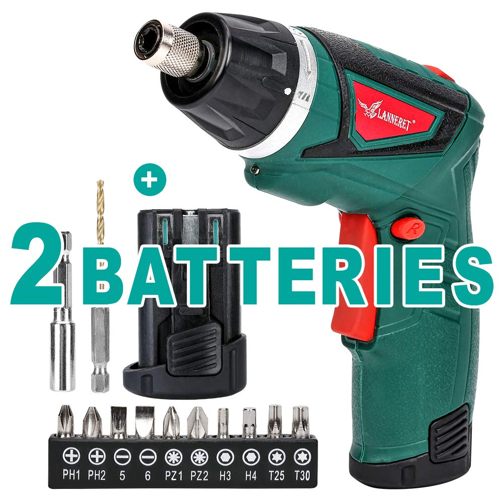 LANNERET Electric Screwdriver Hand Drill 2x Pack 1500mAh 7.2V Li-Ion Battery MAX Torque 9N.m Rechargeable Cordless Screwdriver with 6 1 Torque,10pcs Drill Bits LED Light,Green