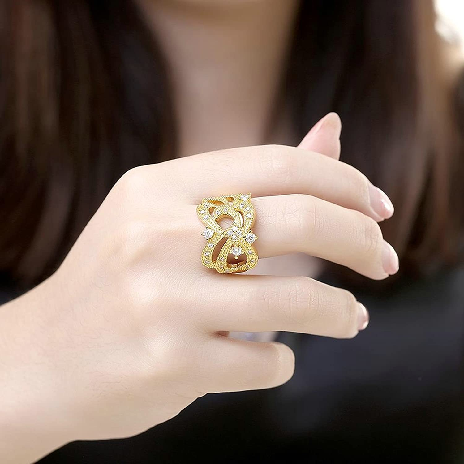Gnzoe Jewelry 18K Gold Plated Women Rings Design Geometry Size 8