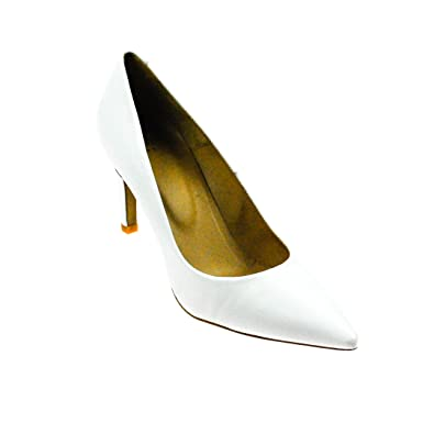 Perlato Damen Pumps Leder Weiß, Schuhgröße:36