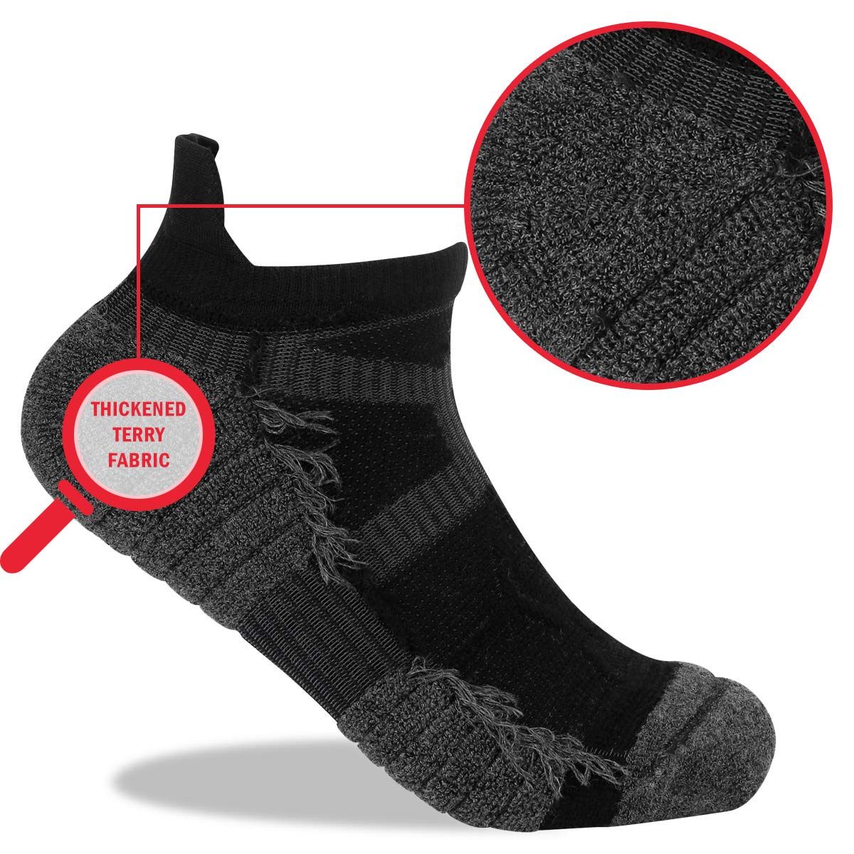 YUEDGE 5 Pairs Cushion Low Cut No Show Sports Socks Trainer Ankle Running Socks for Men and Women