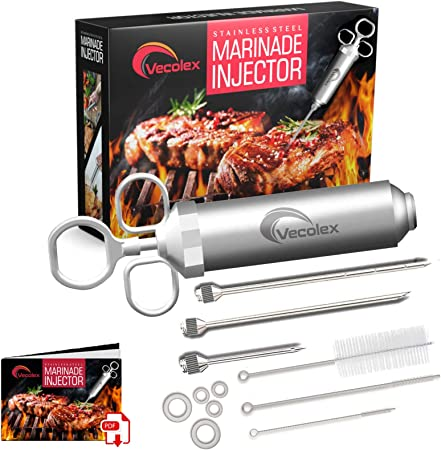 Stainless Steel Meat Injector, Marinade Syringe