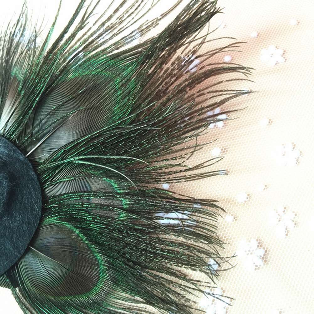ACTLATI Retro Peacock Feather Rhinestone Fascinator Hair Clip Party Hairpin Roaring 20s Headpiece by ACTLATI (Image #2)