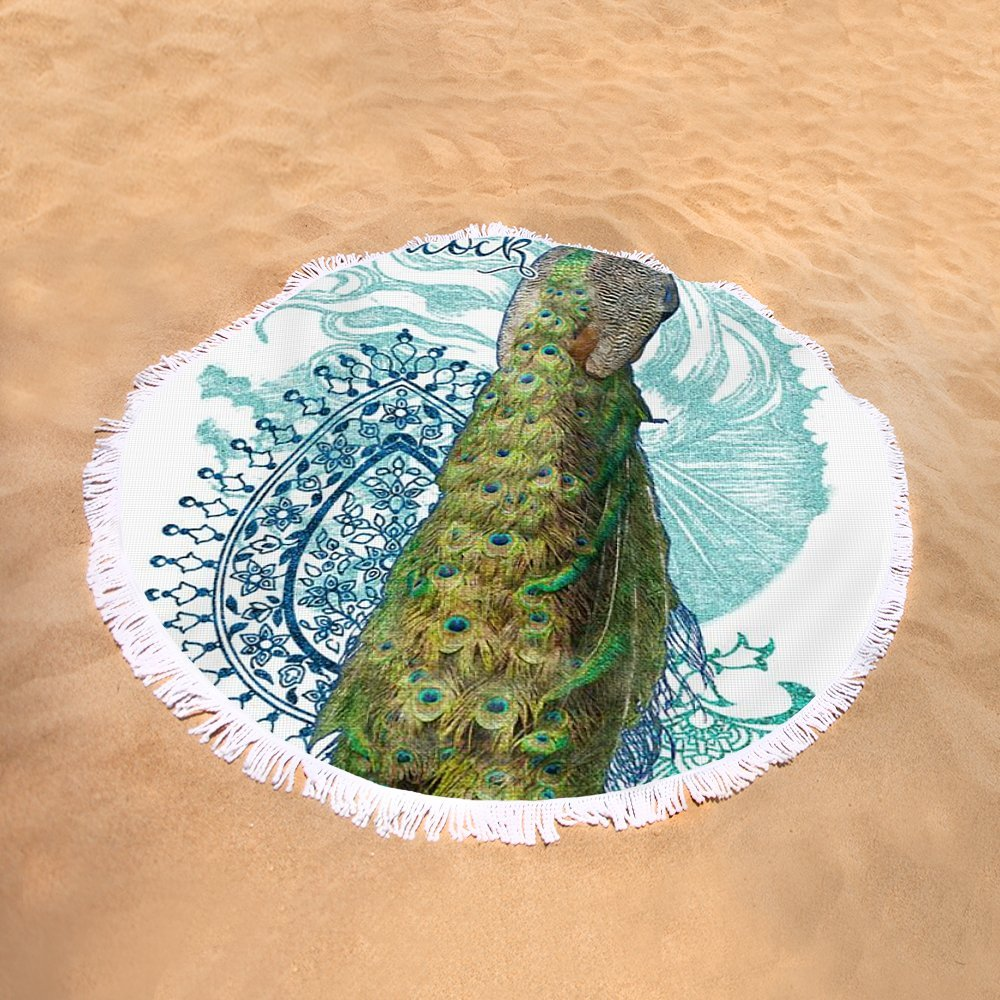 Pixels Round Beach Towel With Tassels featuring ''Indian Peacock Henna Design Paisley Swirls'' by Audrey Jeanne Roberts