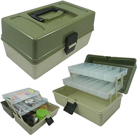 Lunar Box Caja para Aparejos de Pesca voladiza con 2 bandejas. Compartimentos Ajustables: Amazon.es: Deportes y aire libre
