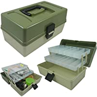 Lunar Box 2 Tray Cantilever Fishing Tackle Box, Adjustable Compartments, reg;