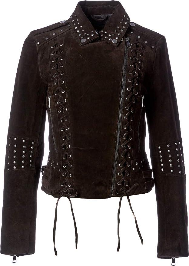 Bagatelle Womens Suede Western Biker Jacket with Lacing Details