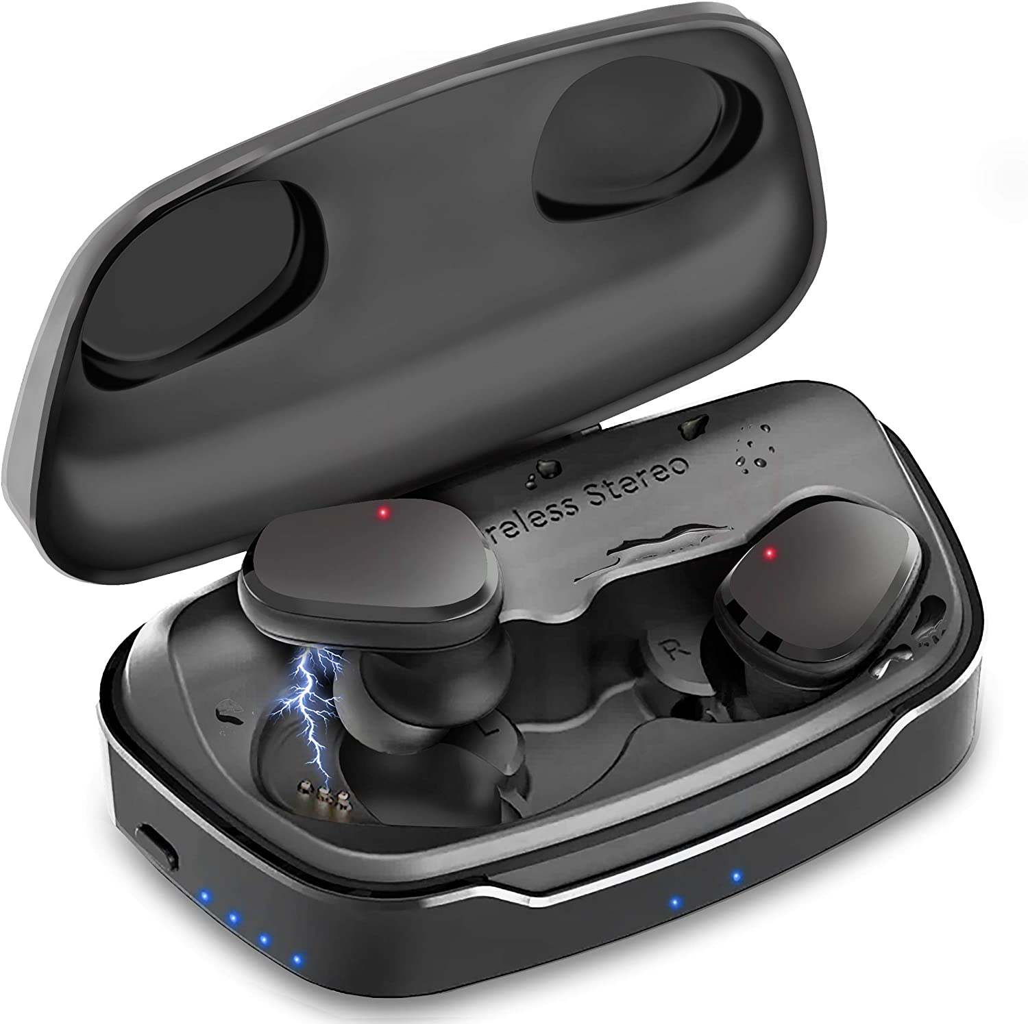 Wavebud Quasar WB-QSD06, TWS Bluetooth 5.0 True Wireless Stereo Earbuds Headphones, Waterproof, HD Bass ?5 Sound Settings?,?Sport FIT?, Mic, ?90-100Hr ? use, ?Power Bank? Feature