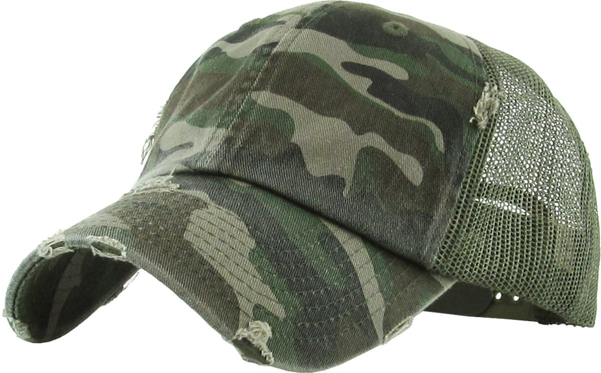 Funky Junque H-6140-K84 Solid Distressed Trucker - Camo