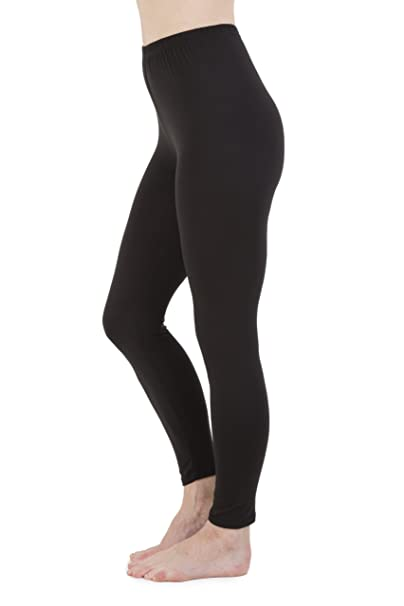 New Ladies Girls Full Length Black Cotton Leggings All Sizes 8-22 High Quality