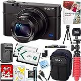 Sony Cyber-shot DSC-RX100 III 20.2 MP Digital Camera - Black + 64GB SDXC Memory Dual Battery Kit + Accessory Bundle