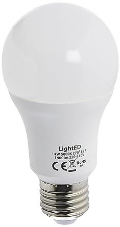 LightED Bombilla LED, 5000 K E27, 14 W, Blanco 60 x 120 mm