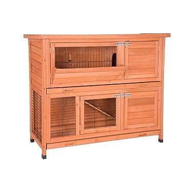EUGAD Conejera de Exterior Madera con Bandejas Casa para Conejos Cobayas Mascotas Jaula para Animales Pequeños