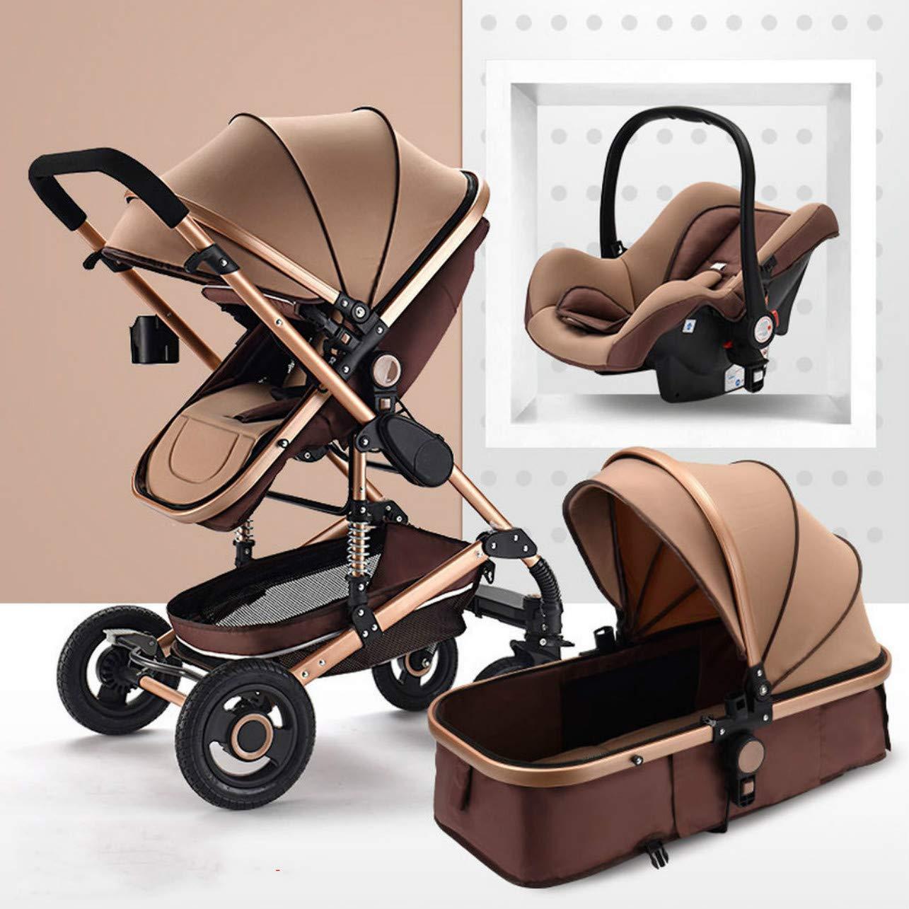 Infant 3 in 1 Foldable Luxury Baby Stroller Travel System,Sleek&Versatile,Easy to Folding,Anti-Shock Springs,Oversized Storage (Khaki 3 in 1) by bleehood