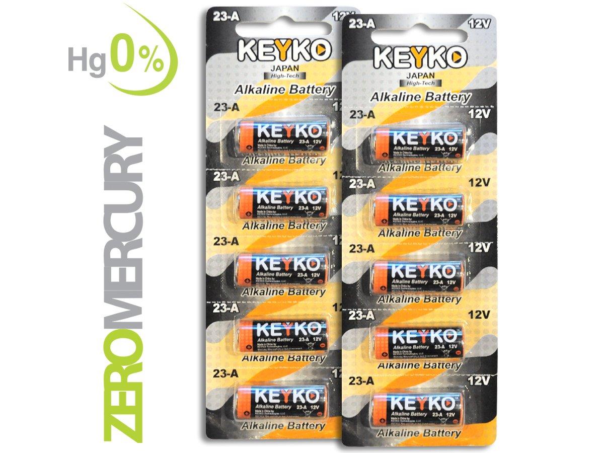A23 Battery 12V Alkaline 55 mAh - 10-Pcs Pack - for Garage Doors Opener, Ceiling Fans & Wireless Doorbells Remotes - 2 Years Warrantee - Type 12 Volt MN21 23GA 21/23 GP23AE A23G A23S Genuine KEYKO KEYKO MITSUKO-KAI Ltd KT-23A