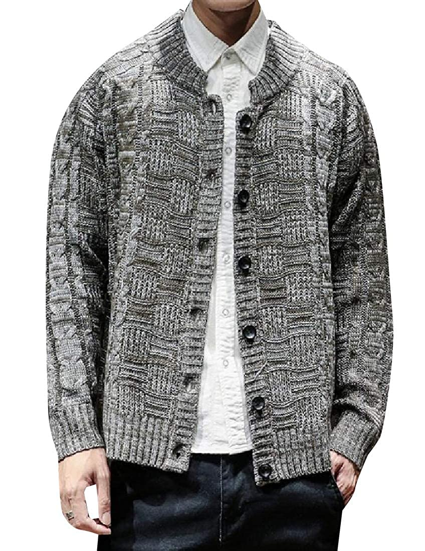 Unastar Men's Stretchable Button Front Chunky Sweater with Drape