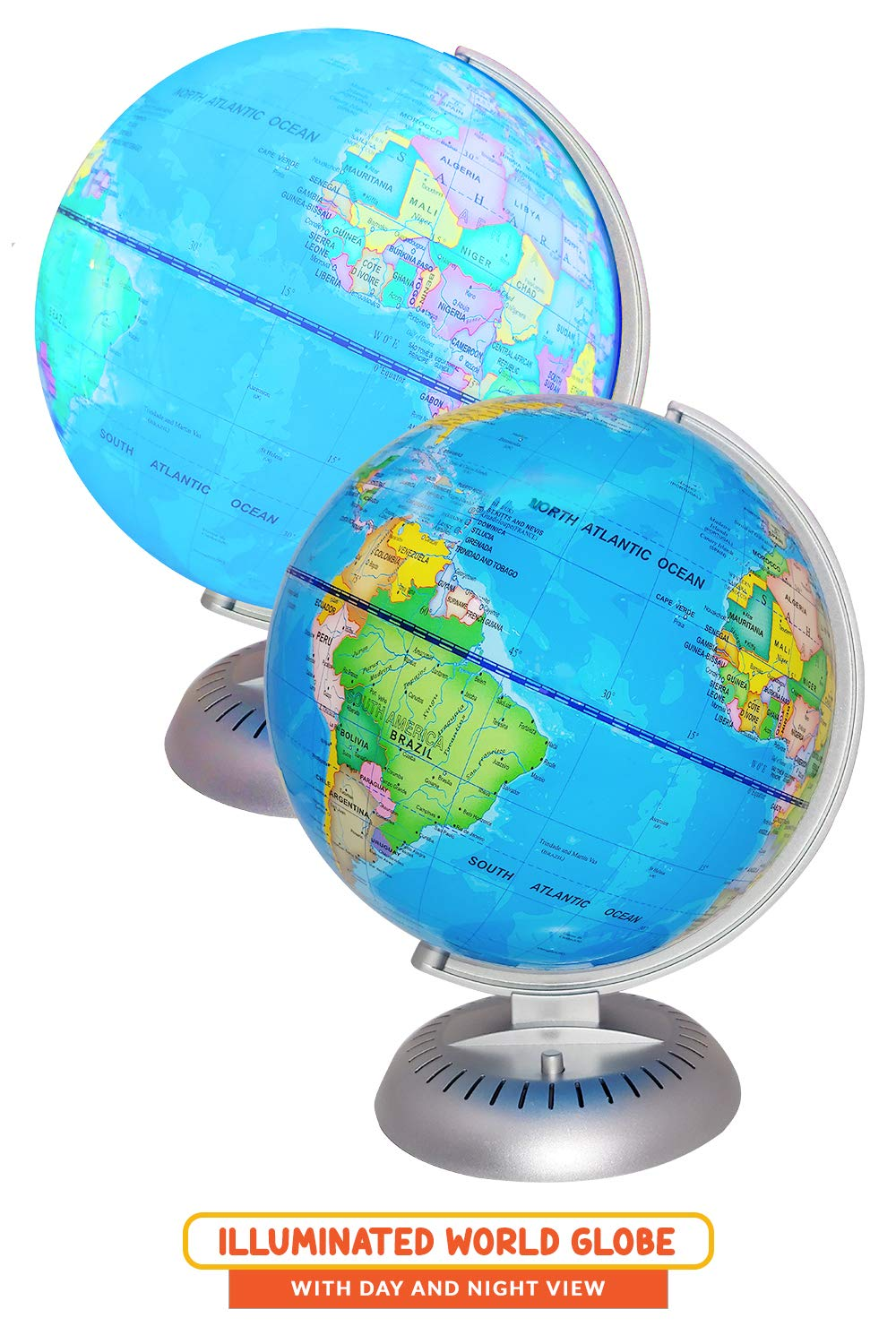 Illuminated World Globe Lights by KinderBerries - 8'' Globe of The World with Stand Night Lights for Kids - Built-in LED Light Earth Globe with Easy to Read Labels for Continents, Countries, Capitals