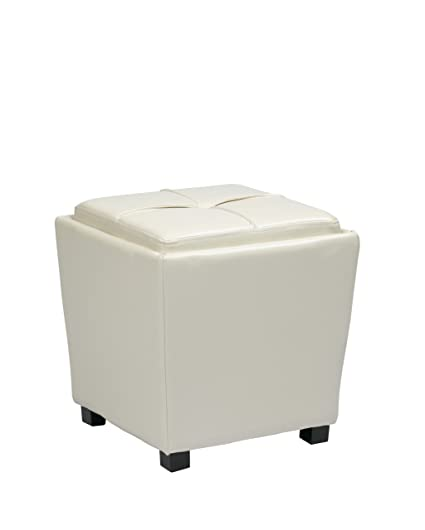 osp designs vinyl 2 piece ottoman set white