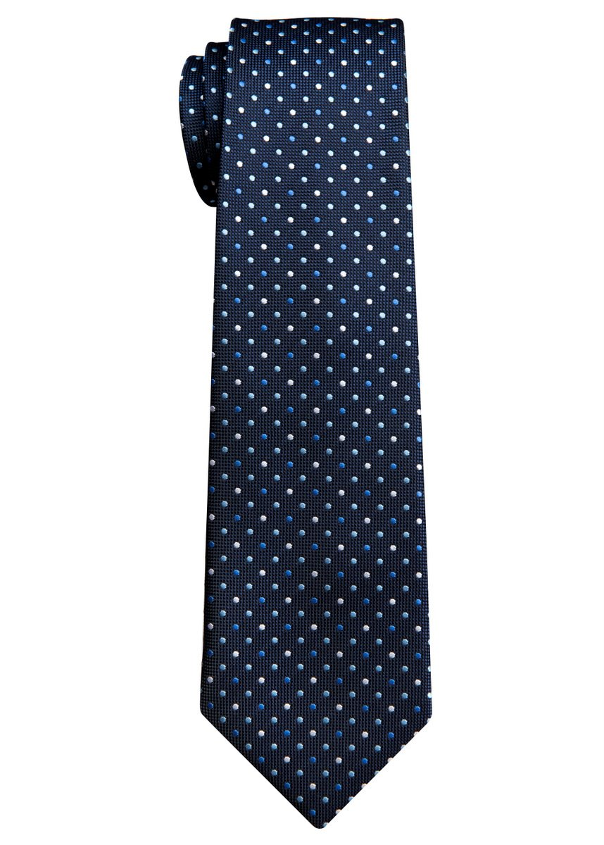Vintage Three-Color Polka Dots Woven Boy's Tie (8-10 years) - Navy Blue
