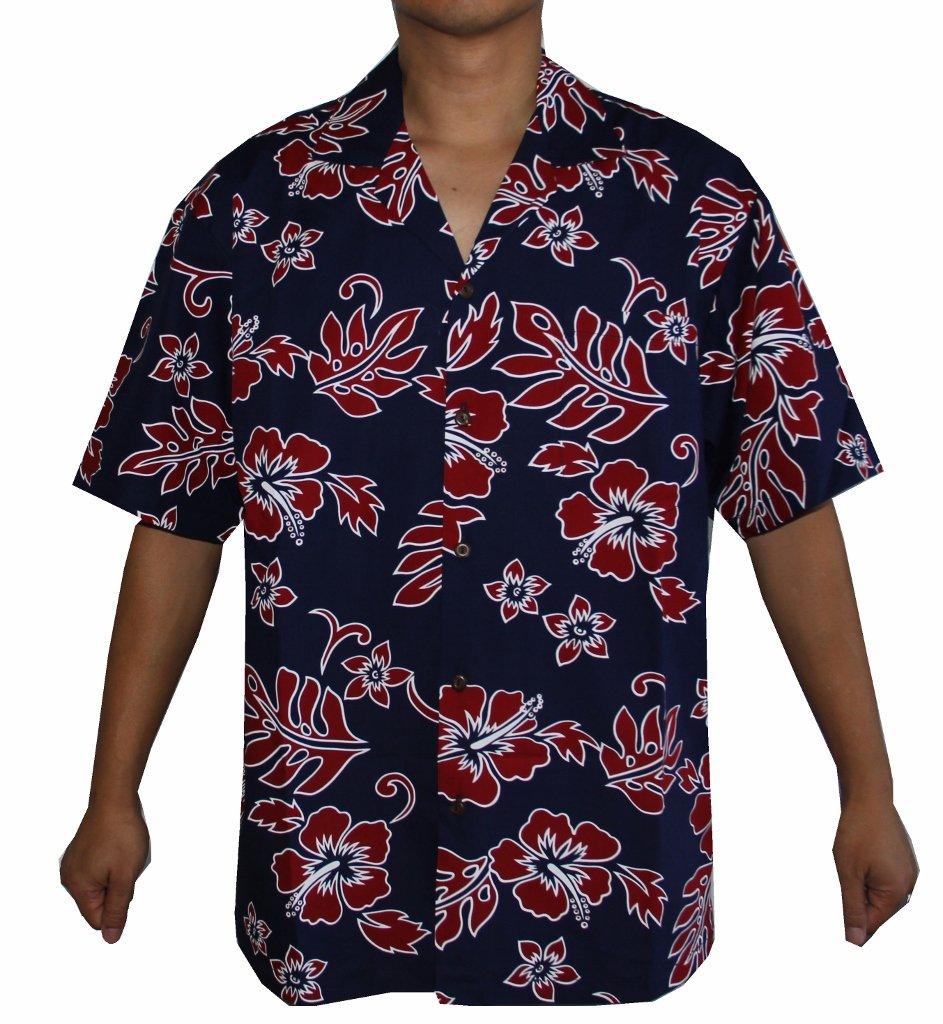 69d396e7 Galleon - Alohawears Clothing Company Made In Hawaii! Men's Hibiscus Flower  Classic Hawaiian Shirt (3XL, Navy/RED)