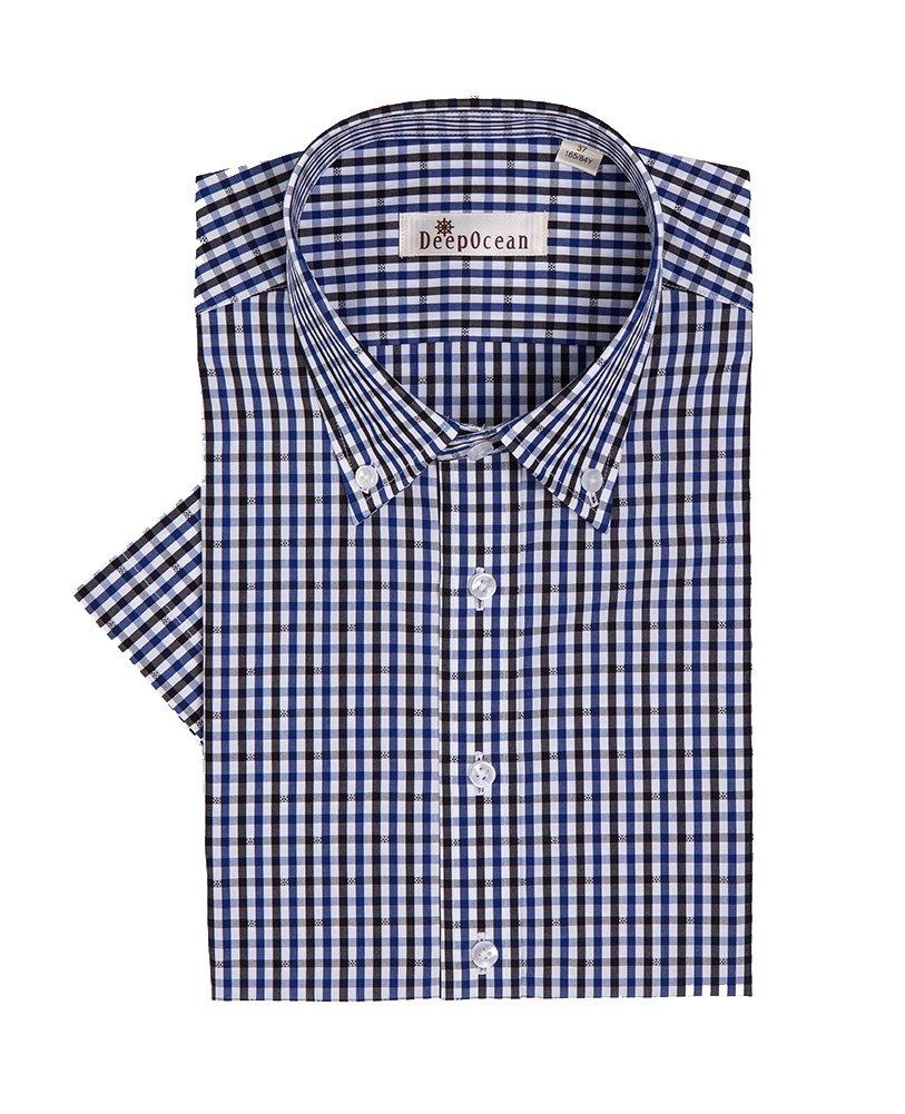 Mojessy Mens 100% Cotton Dress Shirts Plaid Short Sleeve Non-Iron Button Down Collar Blue&Black Plaid Large