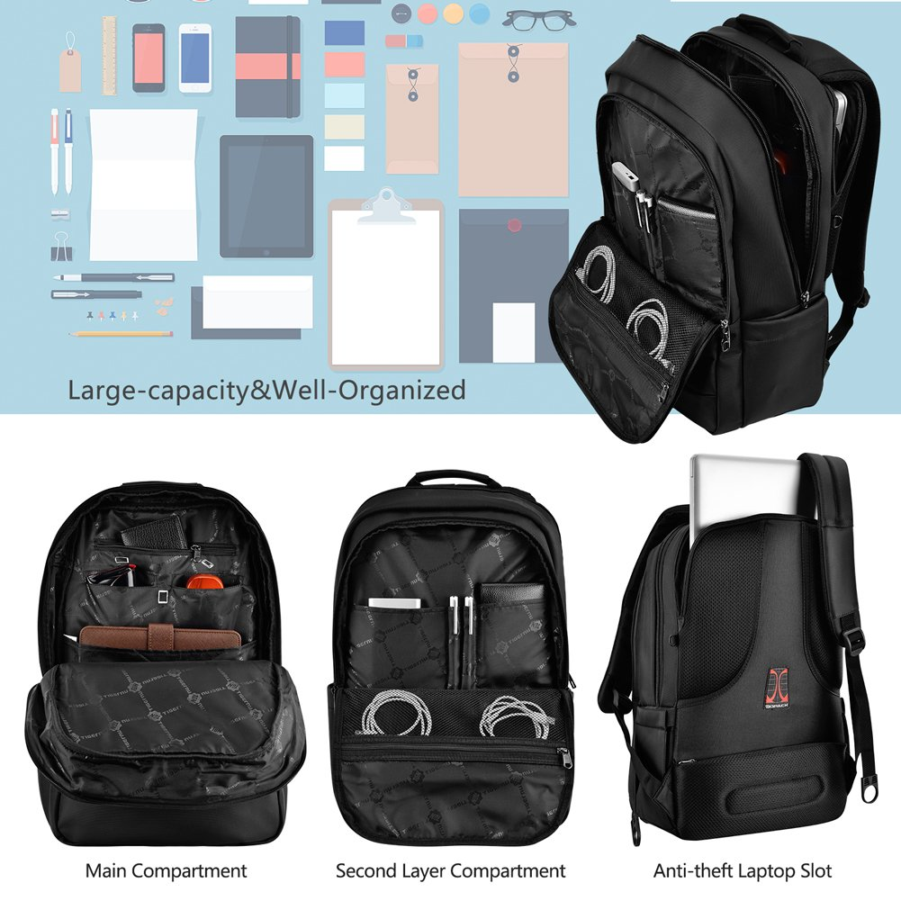3808afa677a5 Kopack Deluxe Black Waterproof Laptop backpack 15.6 17 Inch Travel Gear Bag  business trip computer daypack double laptop compartment  Amazon.ca   Computers   ...
