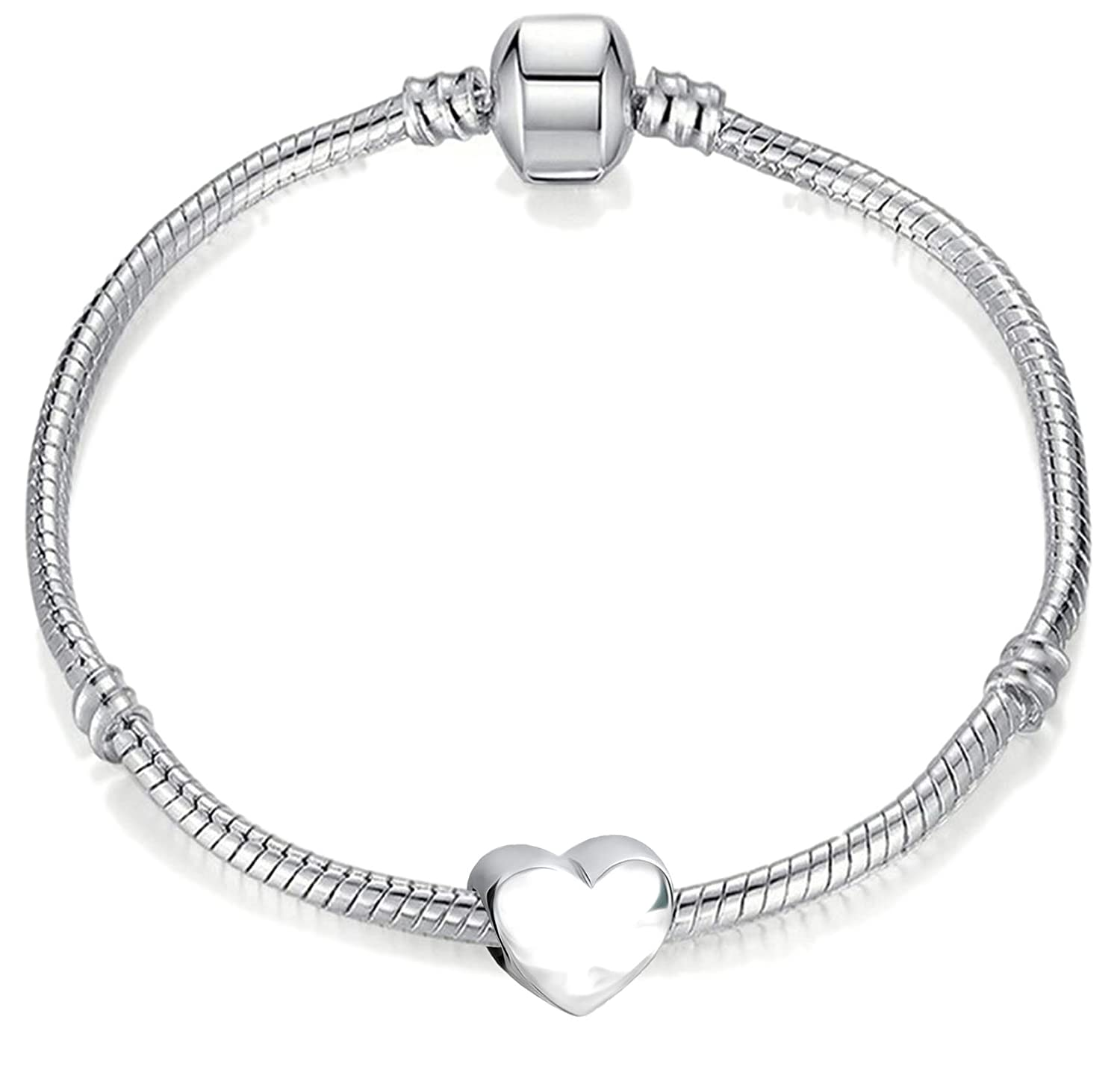15cm Young Girls Starter Charm Bracelet with Silver Heart and Gift Box for Age 3-5 Years Charm Buddy Charm Buddy ® CBY: #15cm Silver--.
