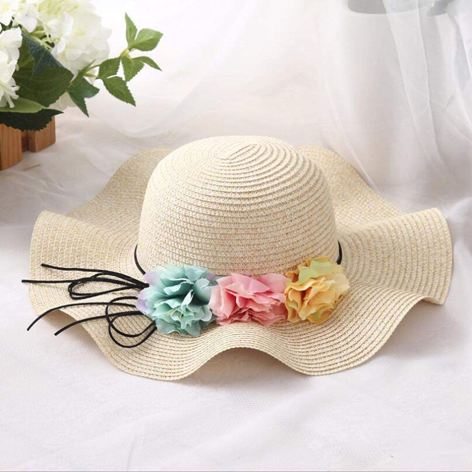 Parent-Child Cute Flower Sun Hats Hand Made Straw Wave Wide Brim Sun Hats Summer Woman Beach Hat