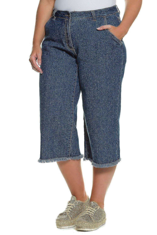 Studio Untold Damen Große Größen bis 54   Jeans   Culotte-Style, Wadenlang,  Fransensaum, 4-Pocket-Form   Gürtel, Knopf   Zipper   Blau, Denim    darkblue 52 ... a97a333127