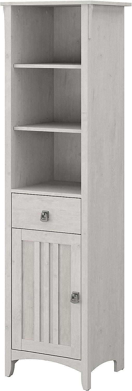 Bush Furniture Salinas Tall Bathroom Storage Cabinet, Linen White Oak