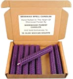 Set Of 8 Witch's Beeswax Spell Candles - Vivid Purple - 10cm