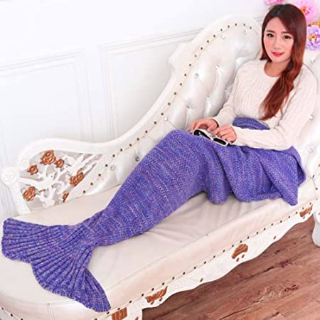 32c4e59ada75 LIVEHITOP Handmade Crochet Mermaid Tail Blanket